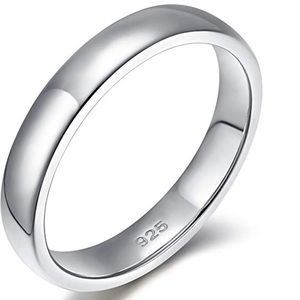 Jewelry - Unisex 925 Sterling Silver Ring 4mm wedding band